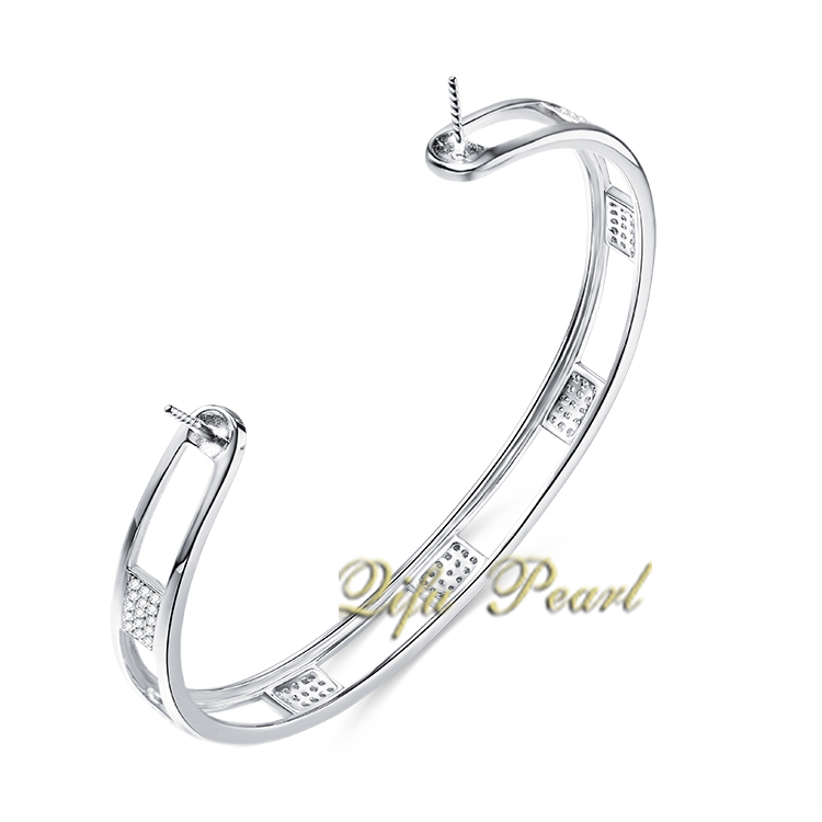 925 Silver Pearl Bangle Mounting